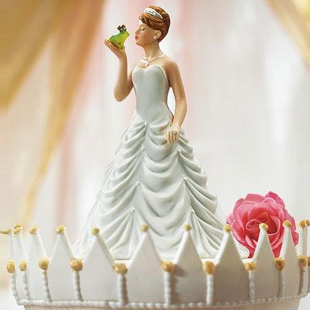 Princess Bride Kissing Her Frog Wedding Cake Topper