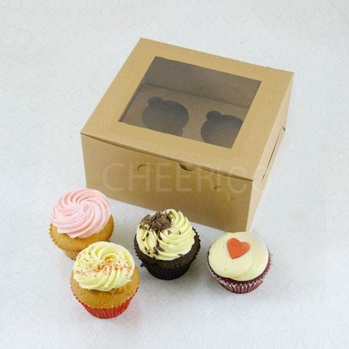 4 Kraft Brown Cupcake Window Box ( $1.85/pc x 25 units)