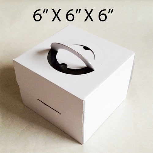 """Cake Boxes with Handle - 6"""" x 6"""" x 6"""" ($2.00/pc x 25 units)"""