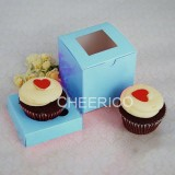 1 Window Baby Blue Cupcake Box w finger hole ($1.25/pc x 25 units)