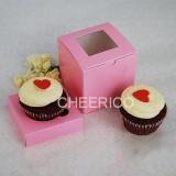 1 Window Pink Cupcake Box w finger hole ($1.20/pc x 25 units)