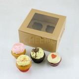 4 Kraft Brown Cupcake Window Box ( $2.00/pc x 25 units)