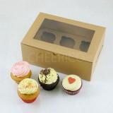 6 Cupcake Window Kraft Brown Box($2.50/pc x 25 units)